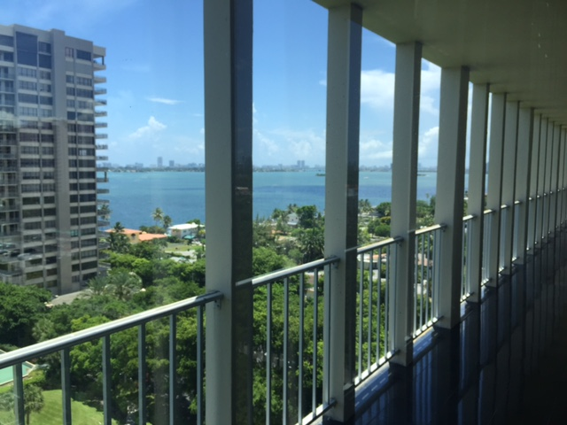 View from balcony of Biscayne Bay at the Jockey Club Penthouse in North Miami